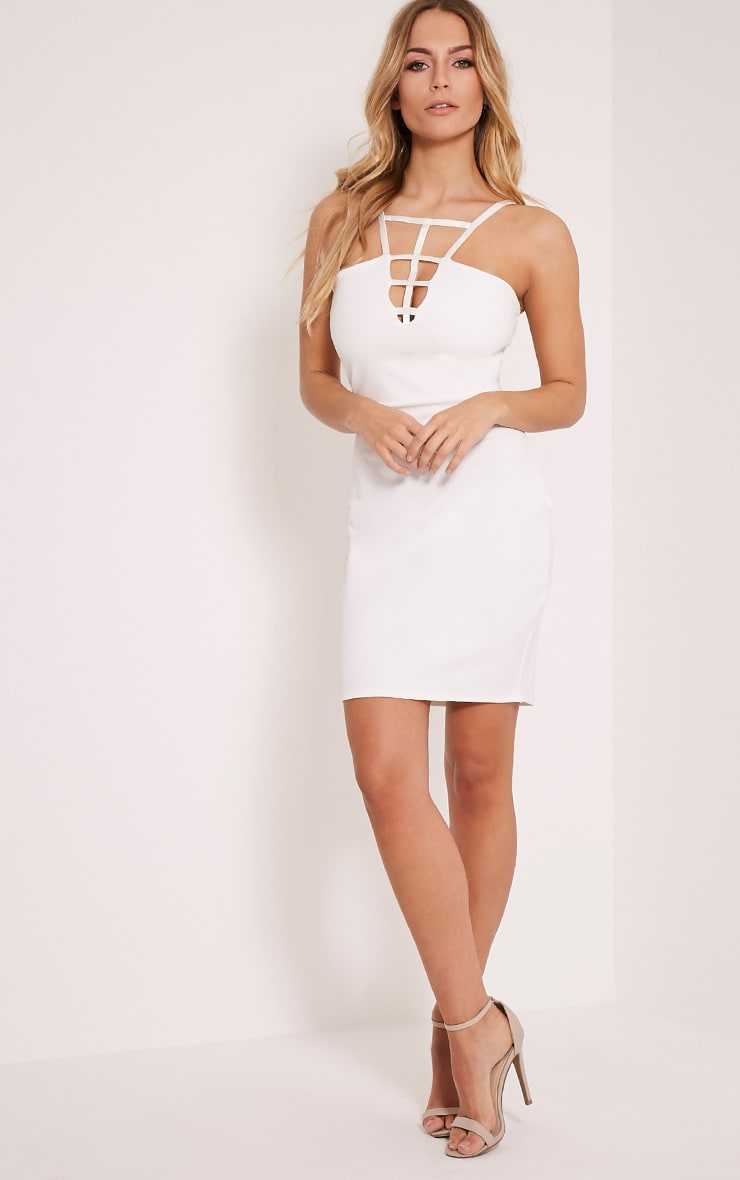 Kiera White Cage Detail Bodycon Dress 5