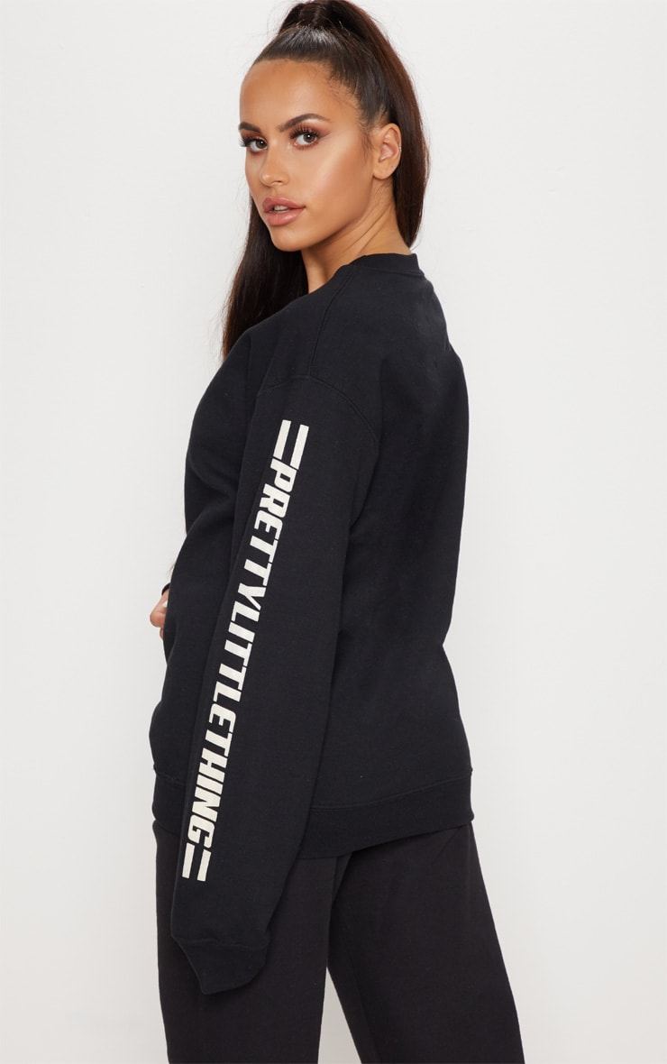 PRETTYLITTLETHING Black Logo Stripe Oversized Sweater 2