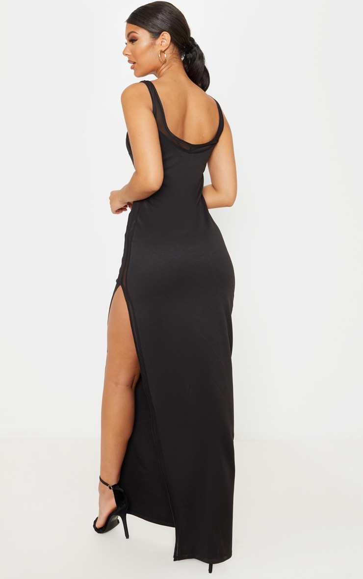 Black Sleeveless Mesh Insert Split Detail Maxi Dress 2