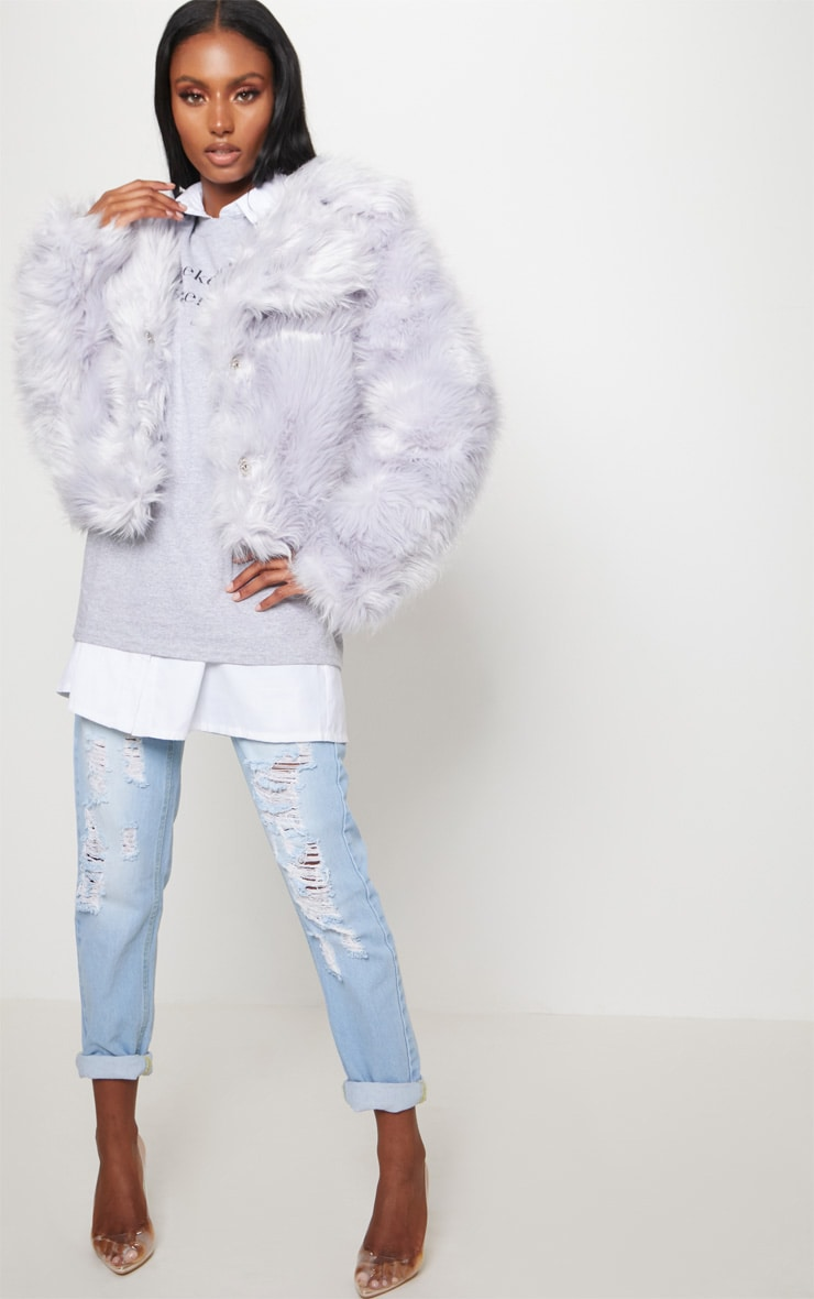 Ice Grey Faux Fur Jacket 3
