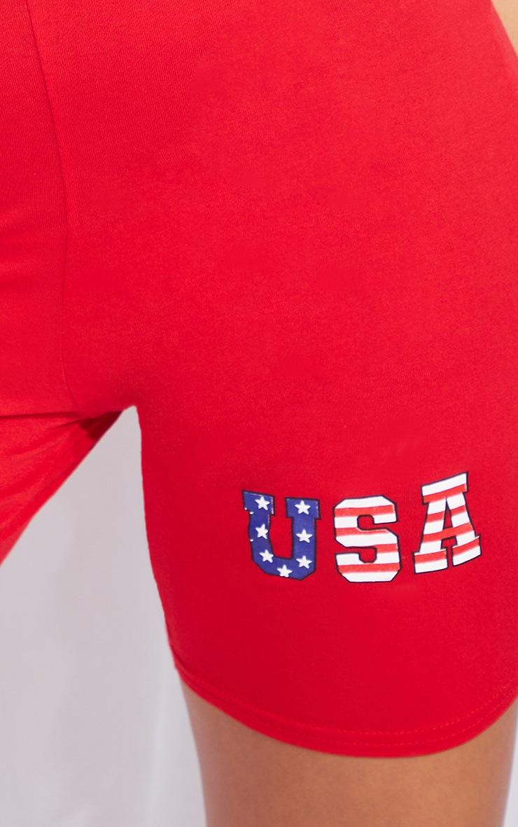 Red USA Printed Bike Shorts 5