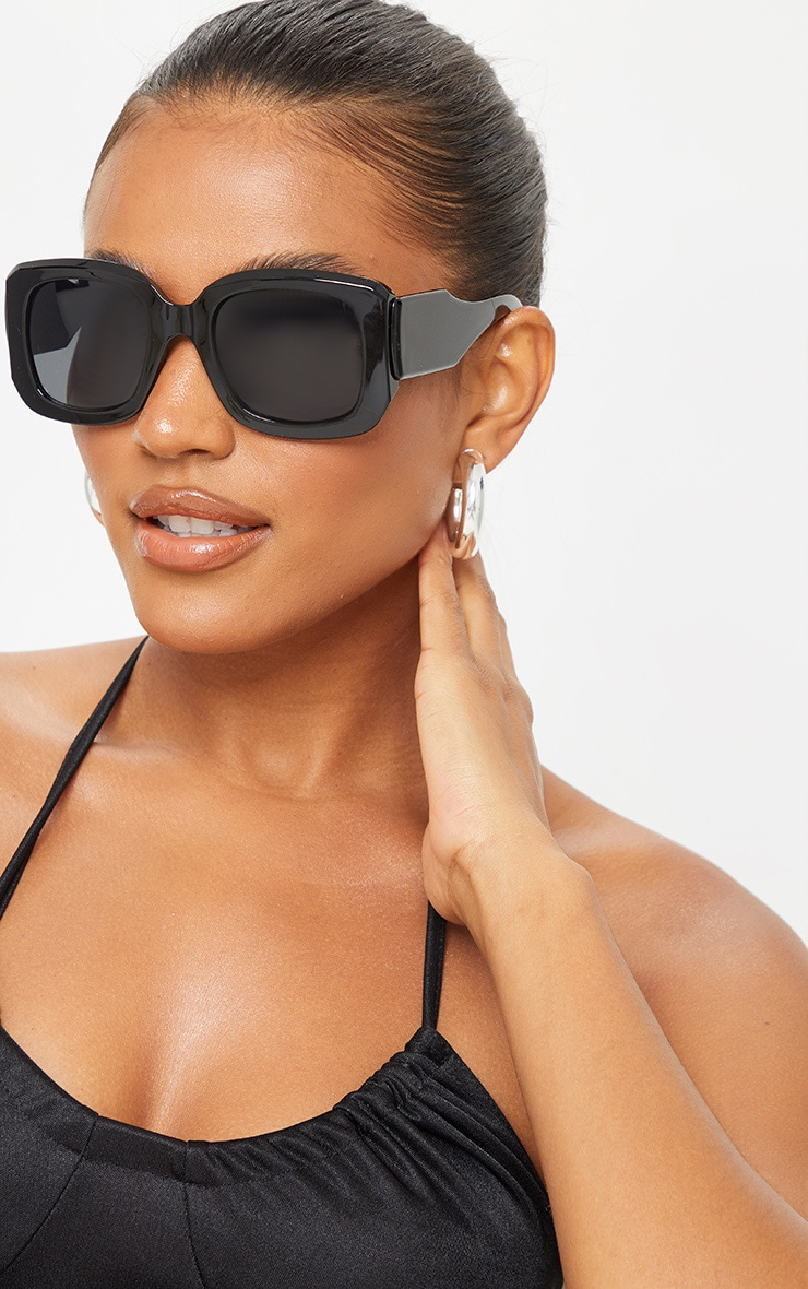 Black Oversized Chunky Squareframe Sunglasses 1