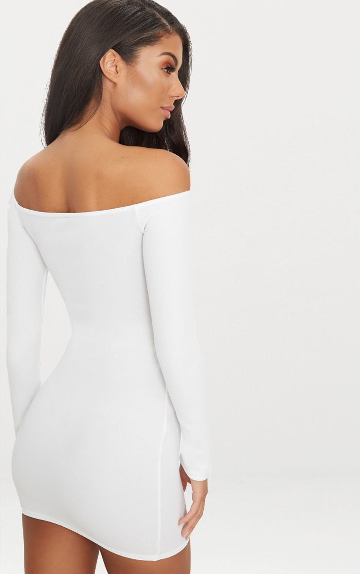 Whtie Lace Up Bardot Bodycon Dress 2