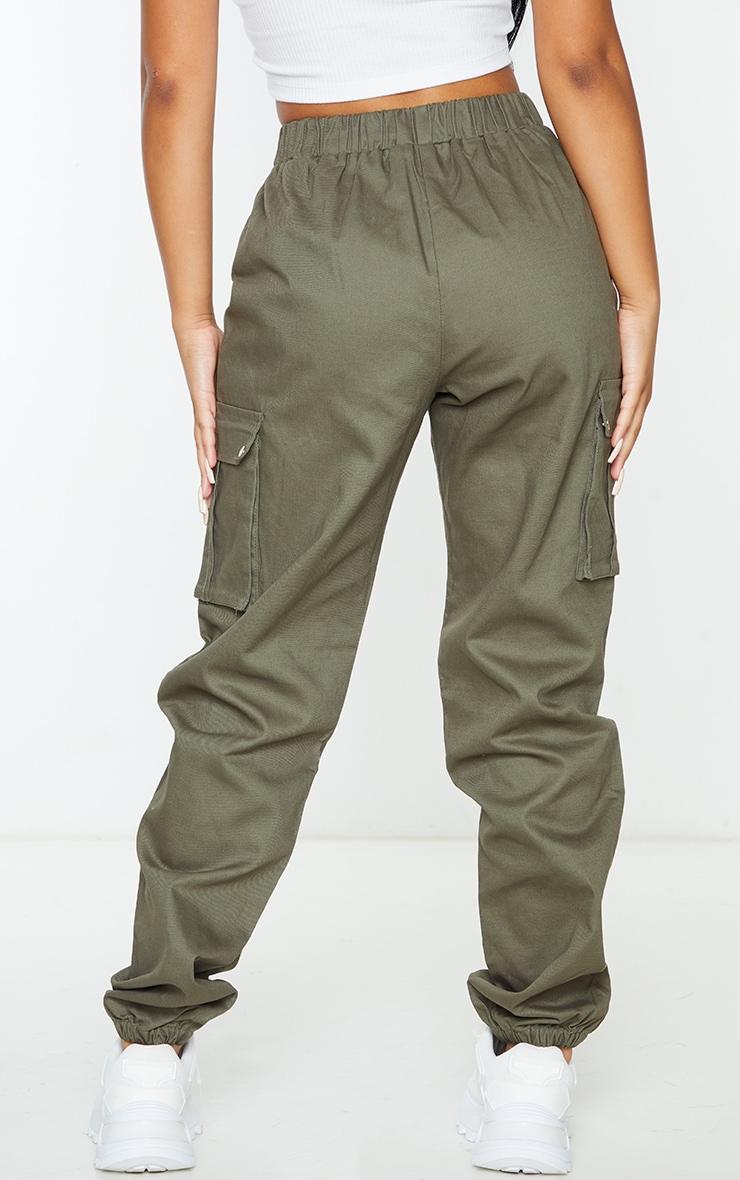 Petite - Pantalon cargo kaki détail poches 3