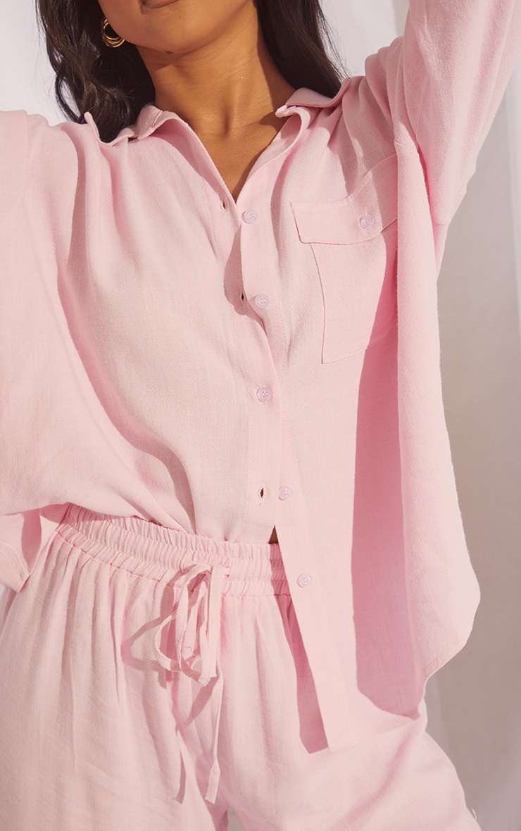 Pale Pink Oversized Long Sleeve Shirt With Pocket And Wide Leg Pants PJ Set 4