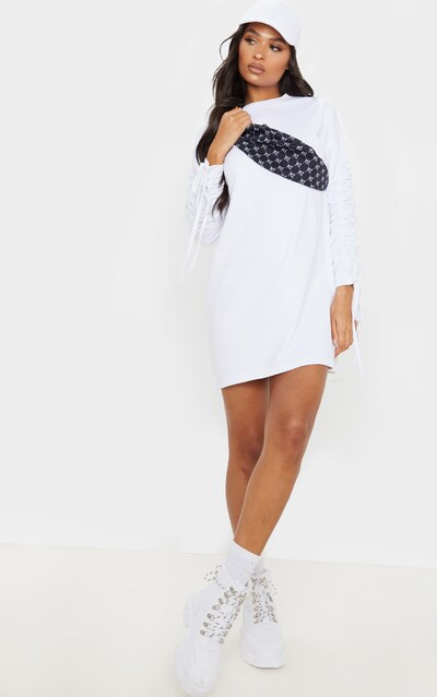White Ruched Sleeve Detail Long Sleeve Jumper Dress