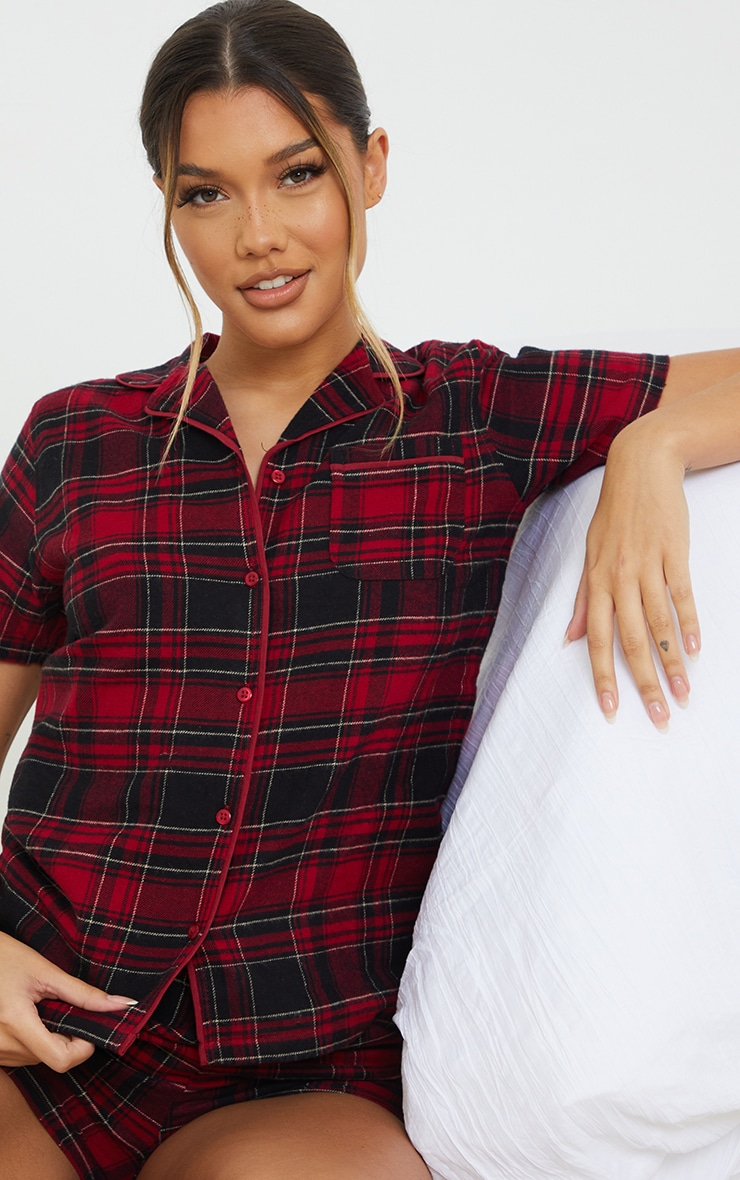 Red Mix And Match Button Up Short Sleeve Check PJ Shirt 4