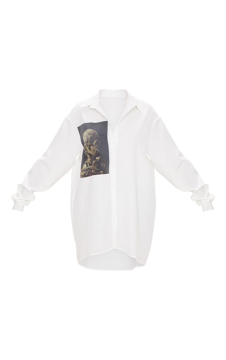 Chemise oversize blanche à imprimé crâne 3