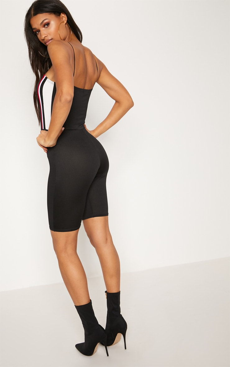 Black Sports Stripe Unitard 2