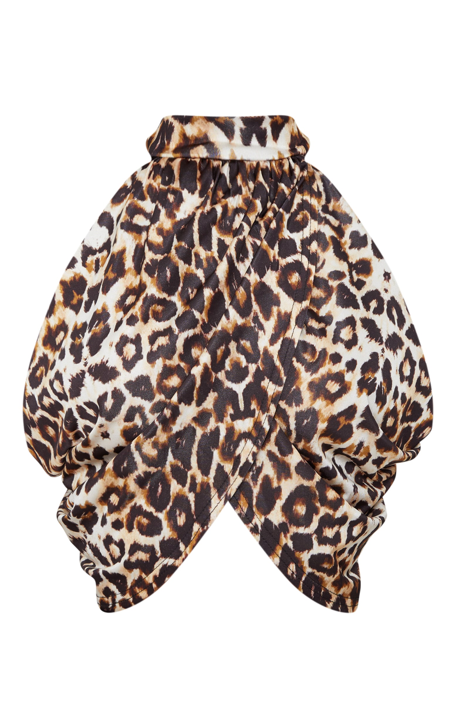 Tan Leopard Neck Wrap Crop Top  2