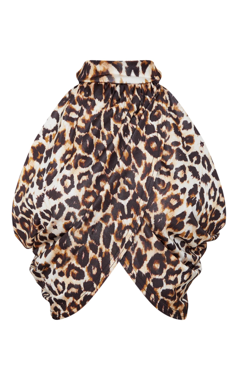 Top court col cache-coeur léopard à dos ouvert 2
