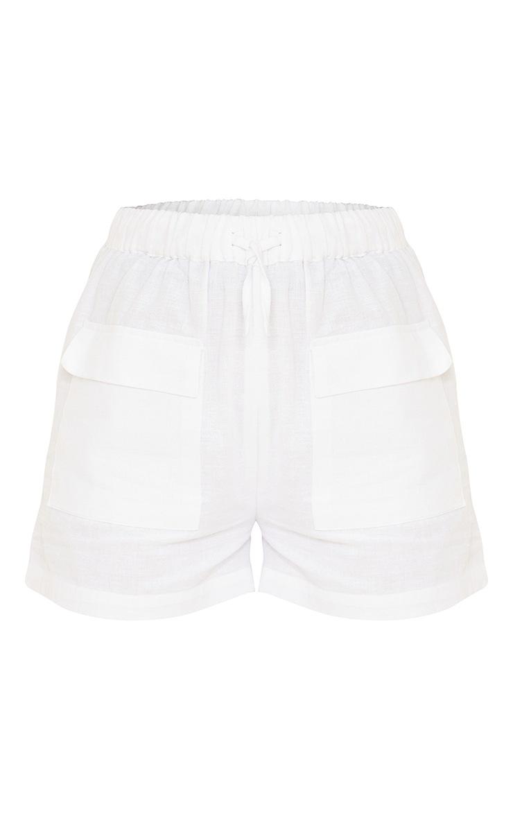 White Linen Feel Pocket Detail Tie Waist Shorts 6