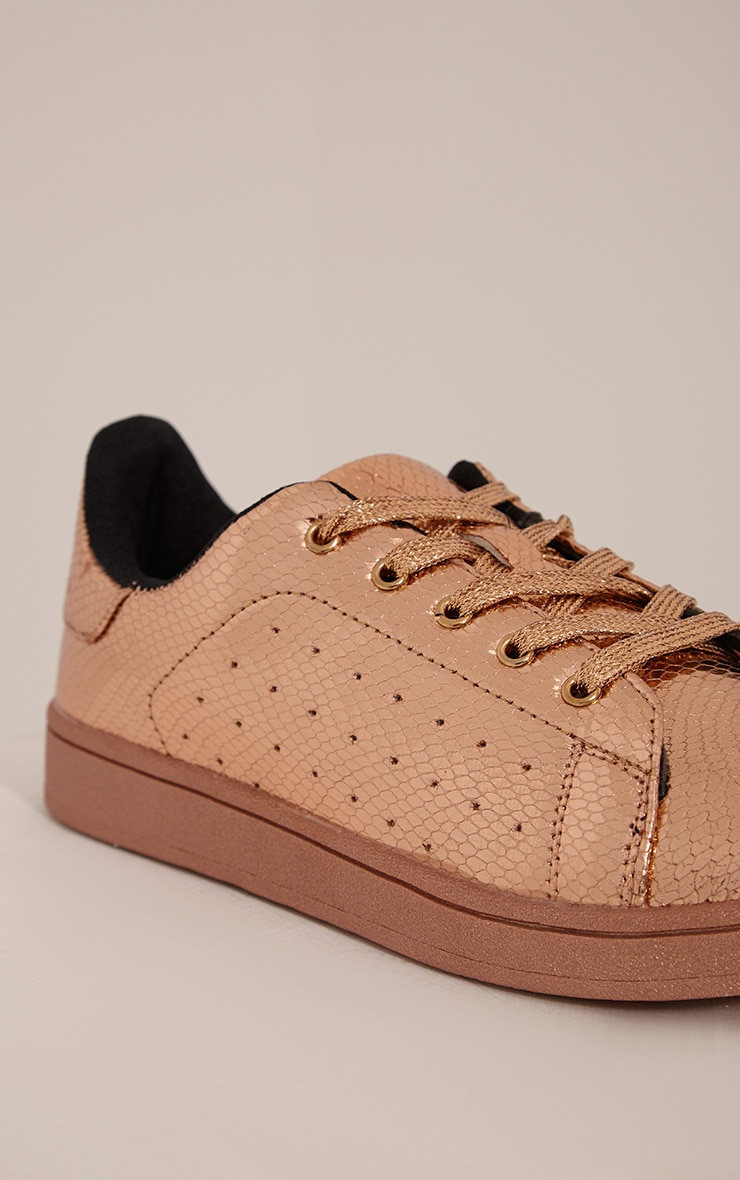 Sarbi Rose Gold Metallic Casual Lace Up Trainer 5