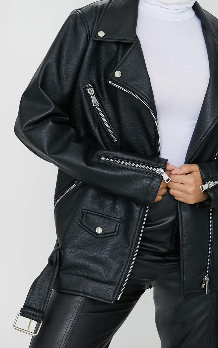 Black Oversized Faux Leather Zip Detail Biker Jacket 4