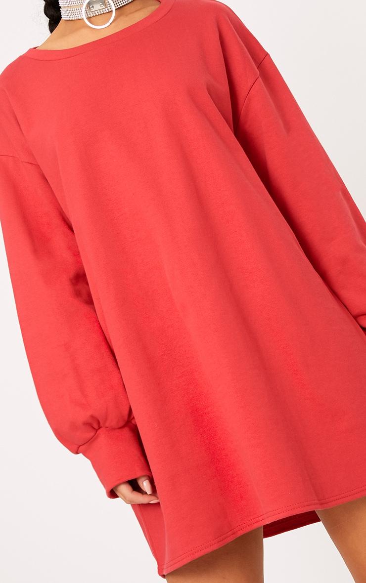 Sianna Red Oversized Sweater Dress 5