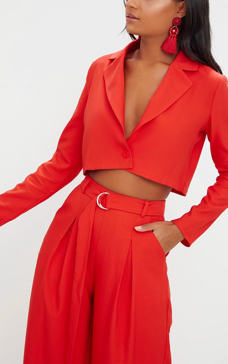 Red Cropped Blazer  4