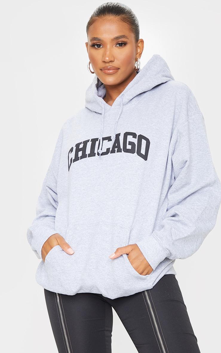 Grey Chicago Printed Hoodie 2