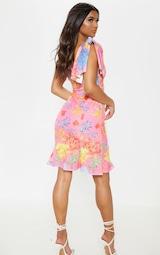 3dbcf8d97d2b Pink Floral Print Pleat Detail Asymmetric Dress | PrettyLittleThing