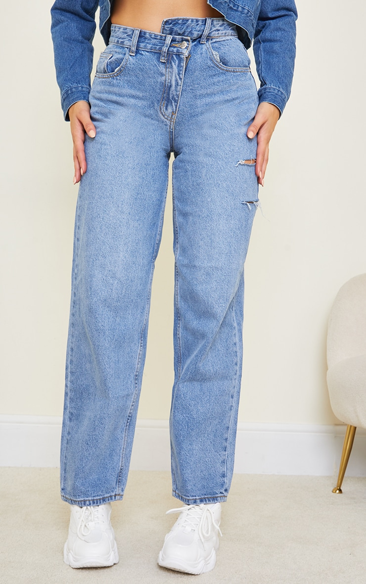 Tall Light Blue Wash Baggy Low Rise Asymmetric Waistband Thigh Split Boyfriend Jeans 2