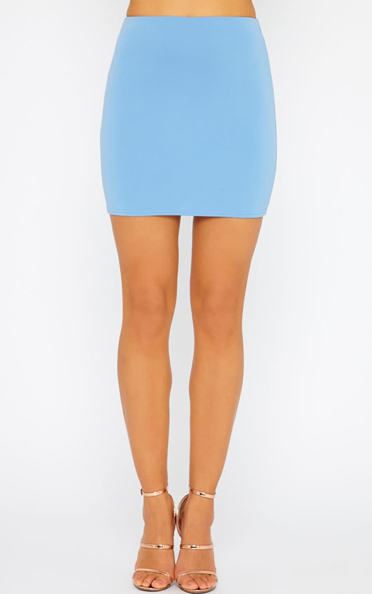 Basic Blue Scuba Mini Skirt 2