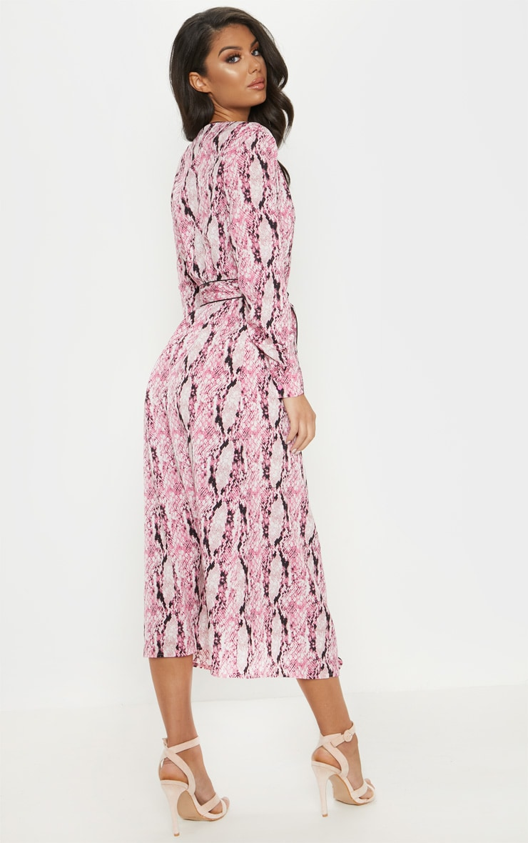 Pink Snake Print Belted Midi Dress 2