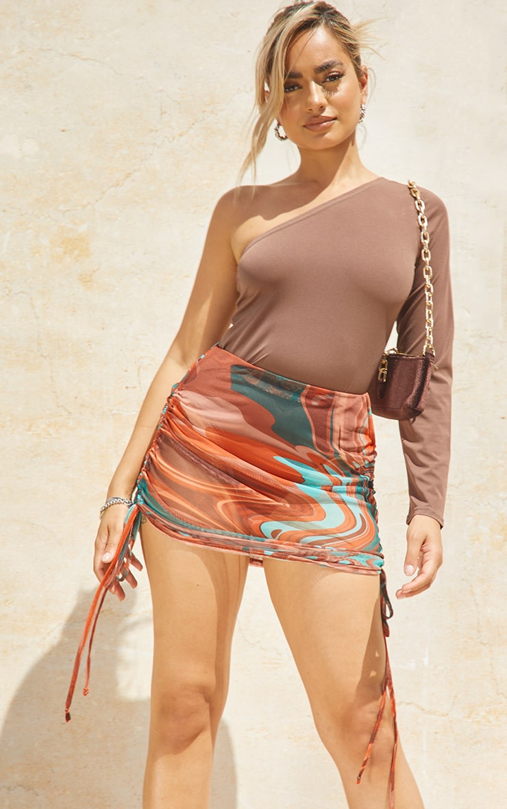 Petite Brown Abstract Print Double Ruched Mesh Mini Skirt 4