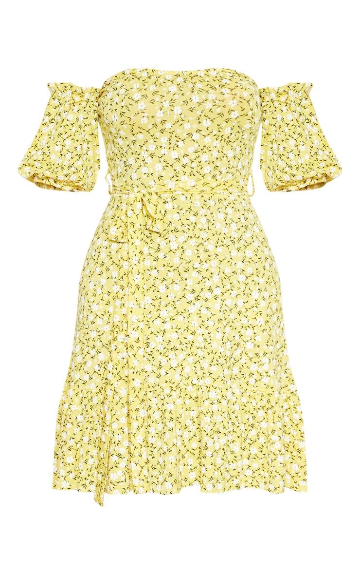 Recycled Yellow Ditsy Print Frill Hem Bardot Skater Dress 5
