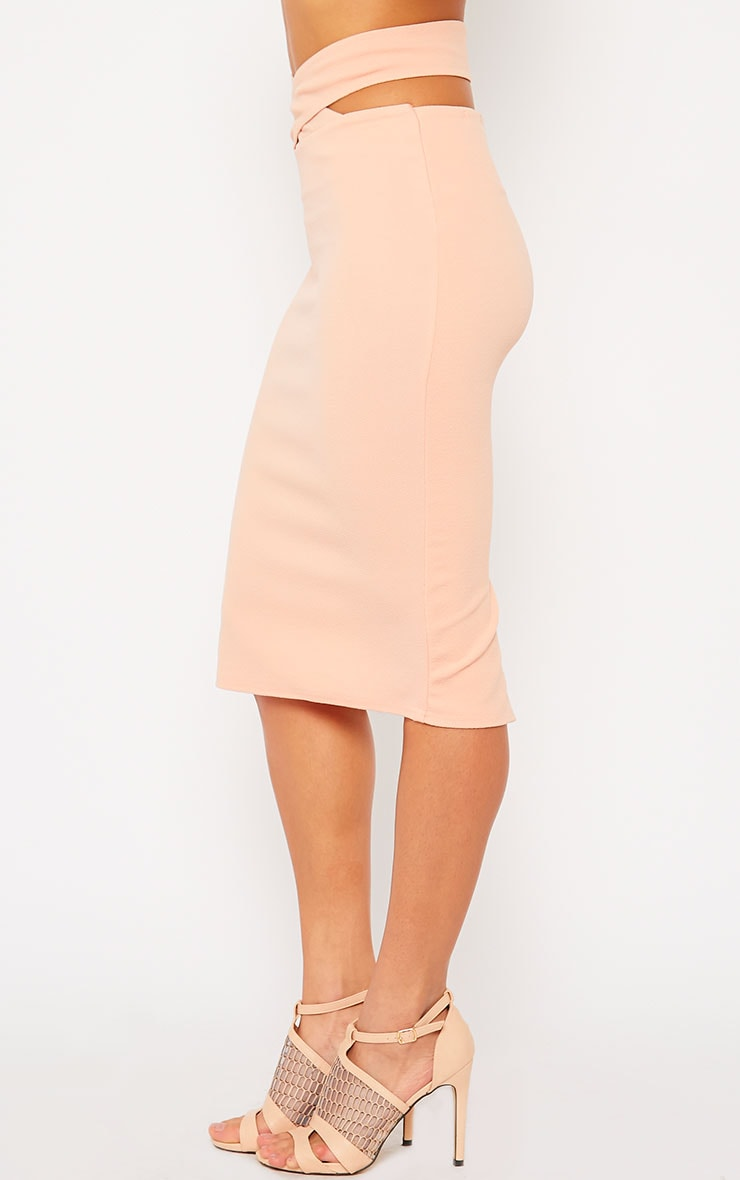Shanel Nude Cut Out Midi Skirt 3