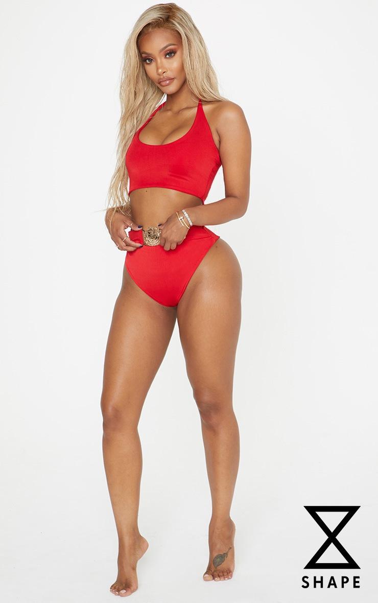 Shape Red Halterneck Bikini Top by Prettylittlething