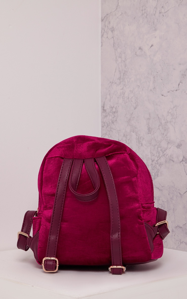 Jayci Burgundy Velvet Backpack 4