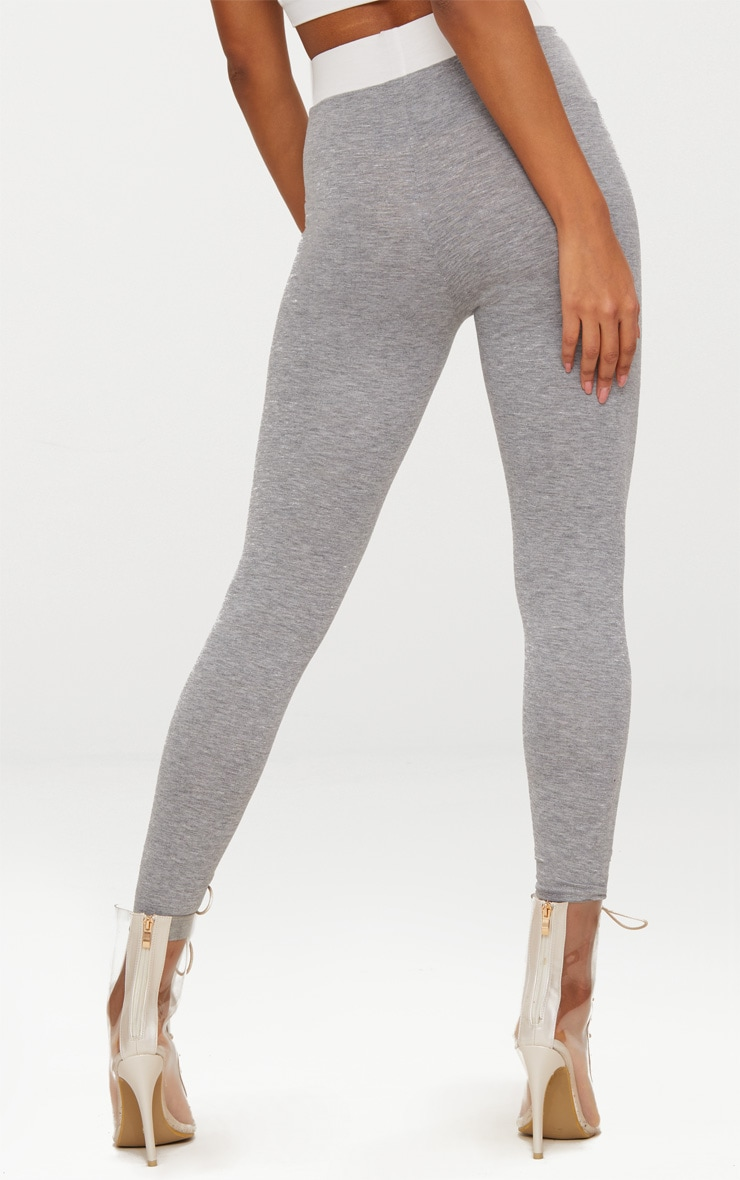 Grey Contrast Waist Band Leggings  4