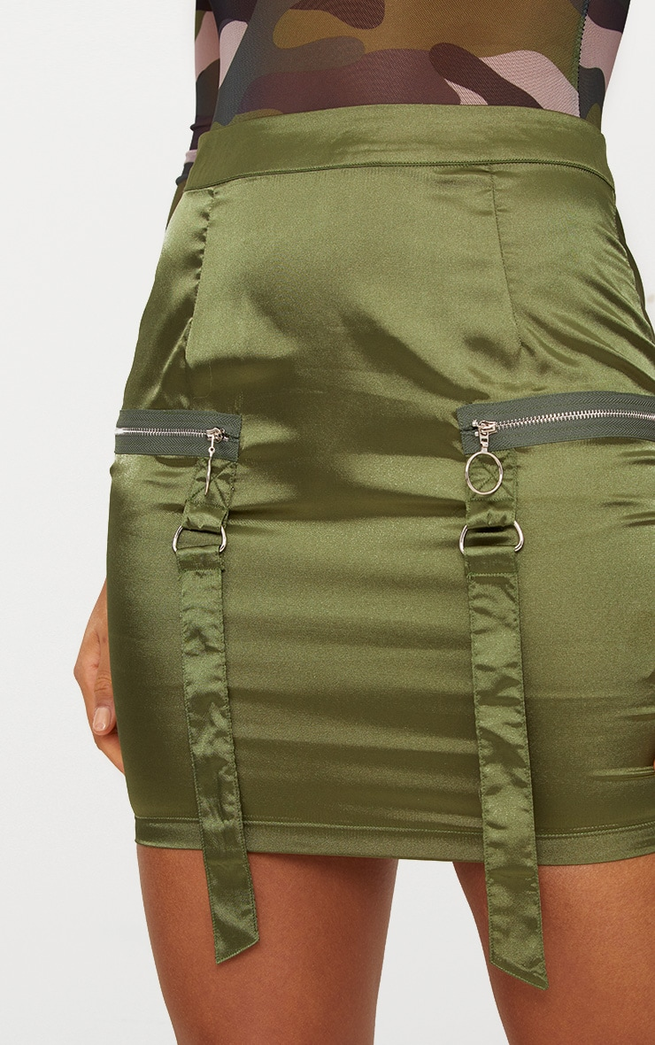 Khaki Satin Pocket Detail Mini Skirt  6