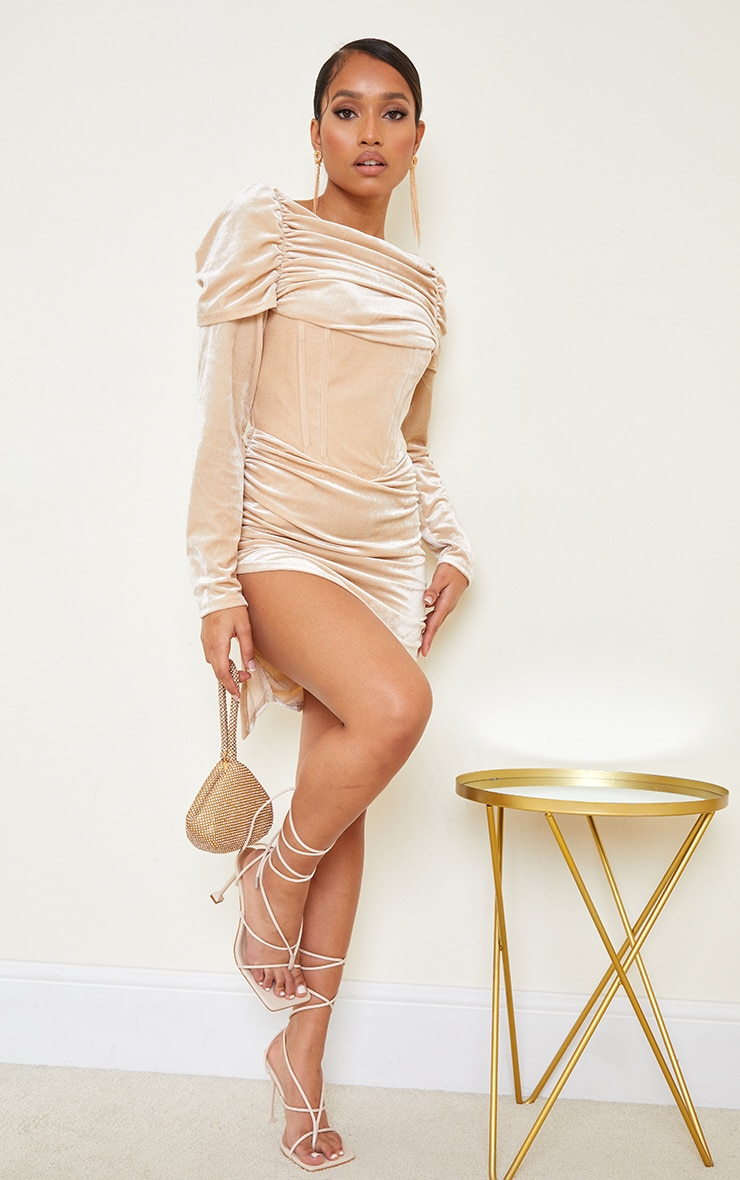 Petite Champagne Velvet Ruched Corset Long Sleeve Bodycon Dress 1