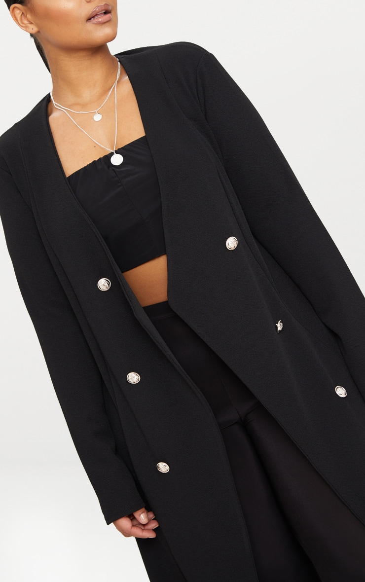 Plus Black Military Button Detail Duster Coat 5