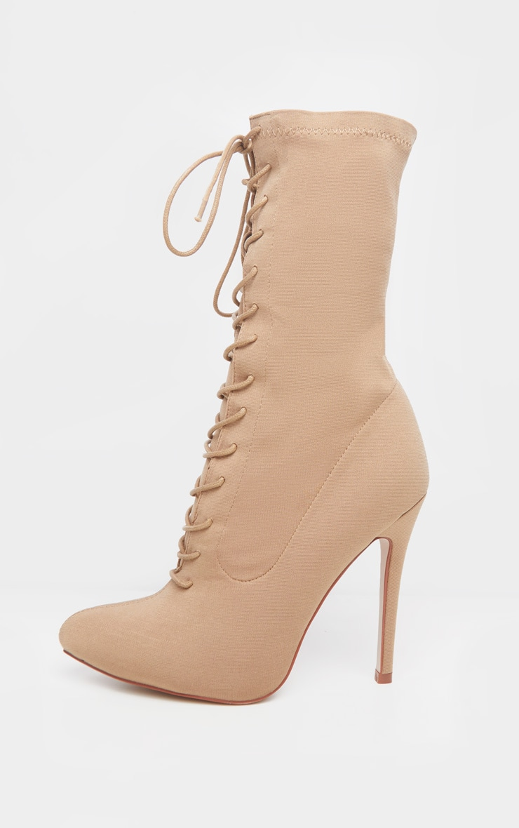 Mazy Nude Lace Up Sock Boots 3
