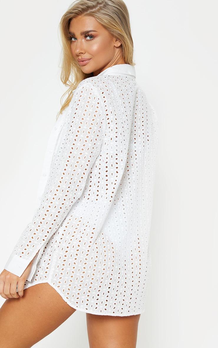 White Broderie Anglaise Beach Shirt 2