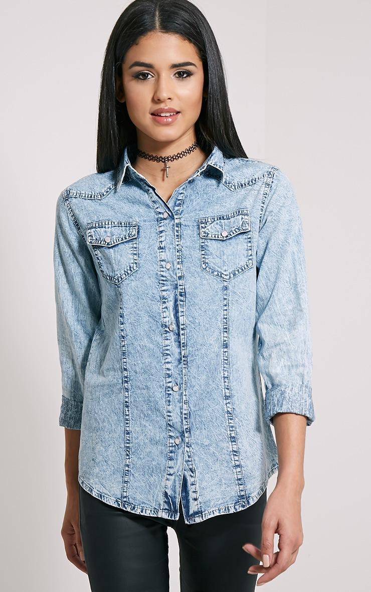 Ina Blue Acid Wash Denim Shirt 1