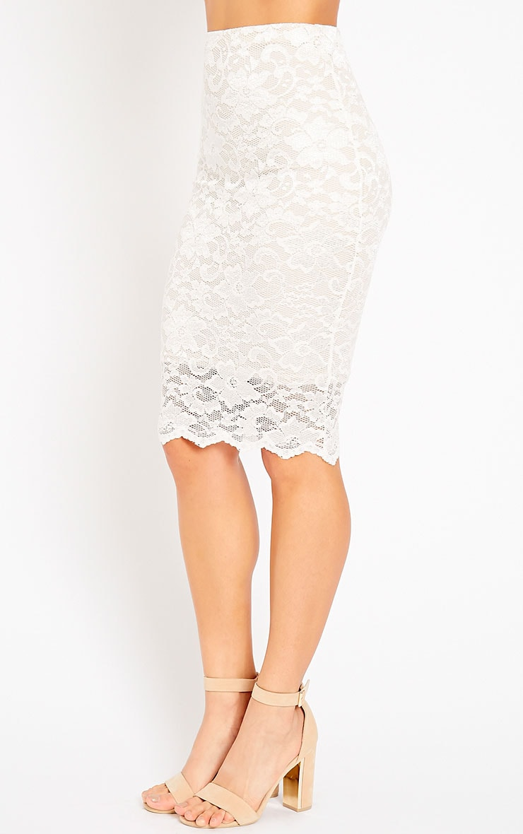Rez Cream Lace Scallop Edge Midi Skirt 4