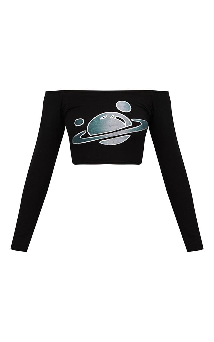 Black Planet Foil Slogan Bardot Longsleeve Crop Top 3