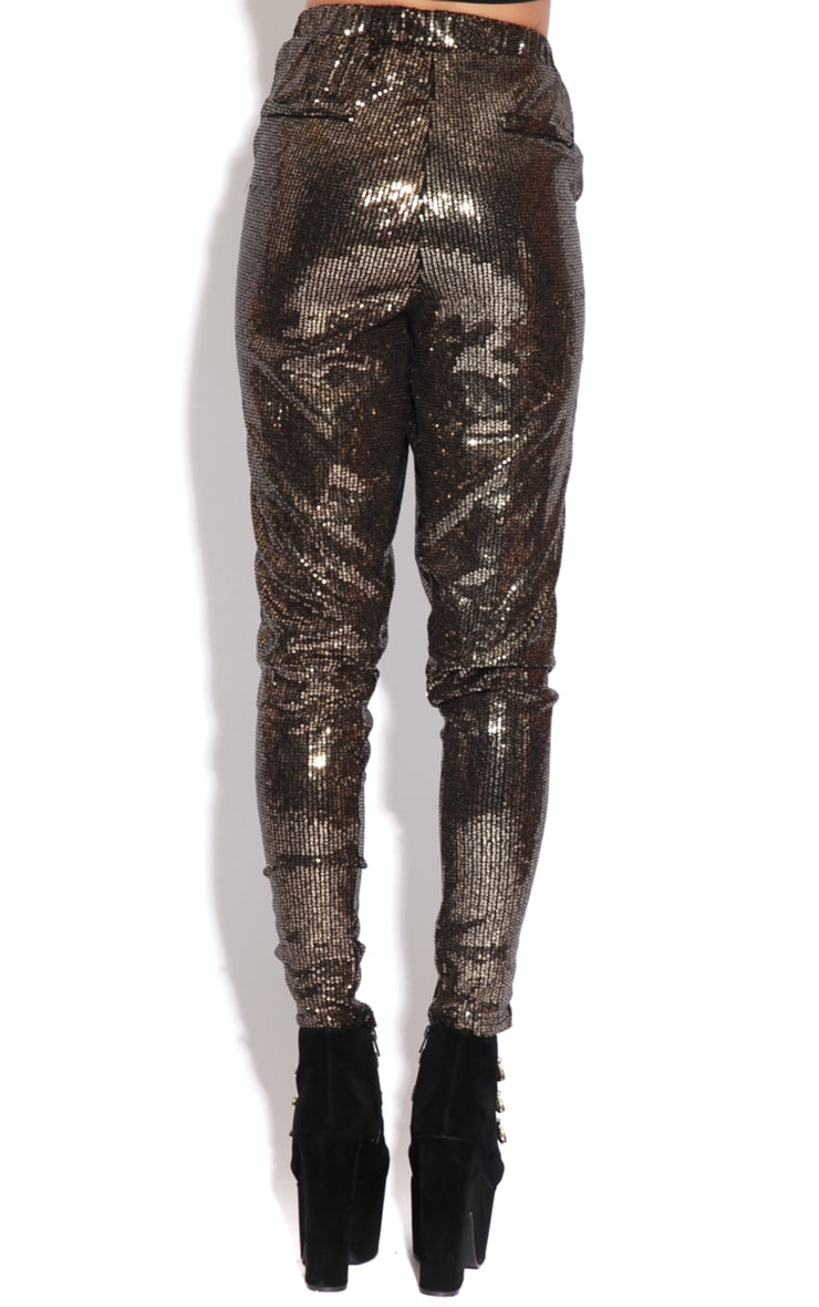Lucia Gold Sequin High Waist Trousers  2