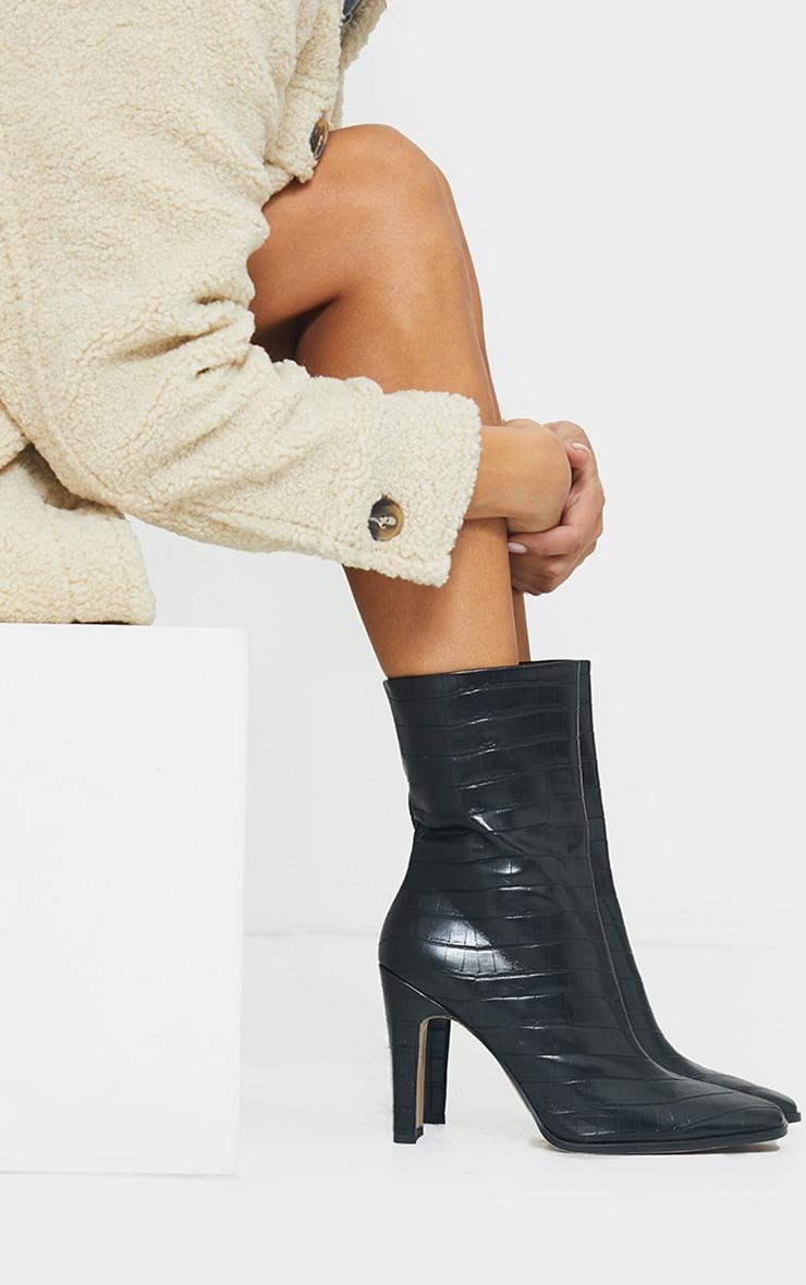 Black PU Snake Flat Heeled Ankle Boots 1