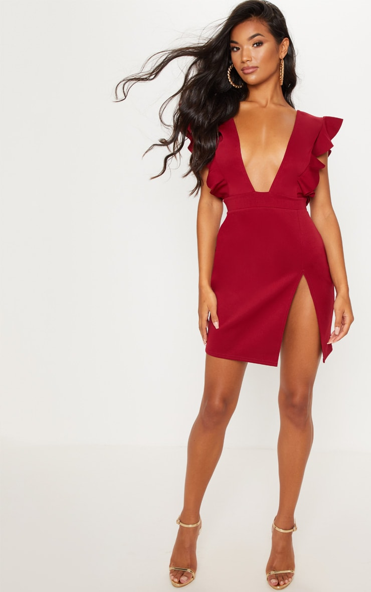 Burgundy Frill Plunge Split Leg Bodycon Dress 4