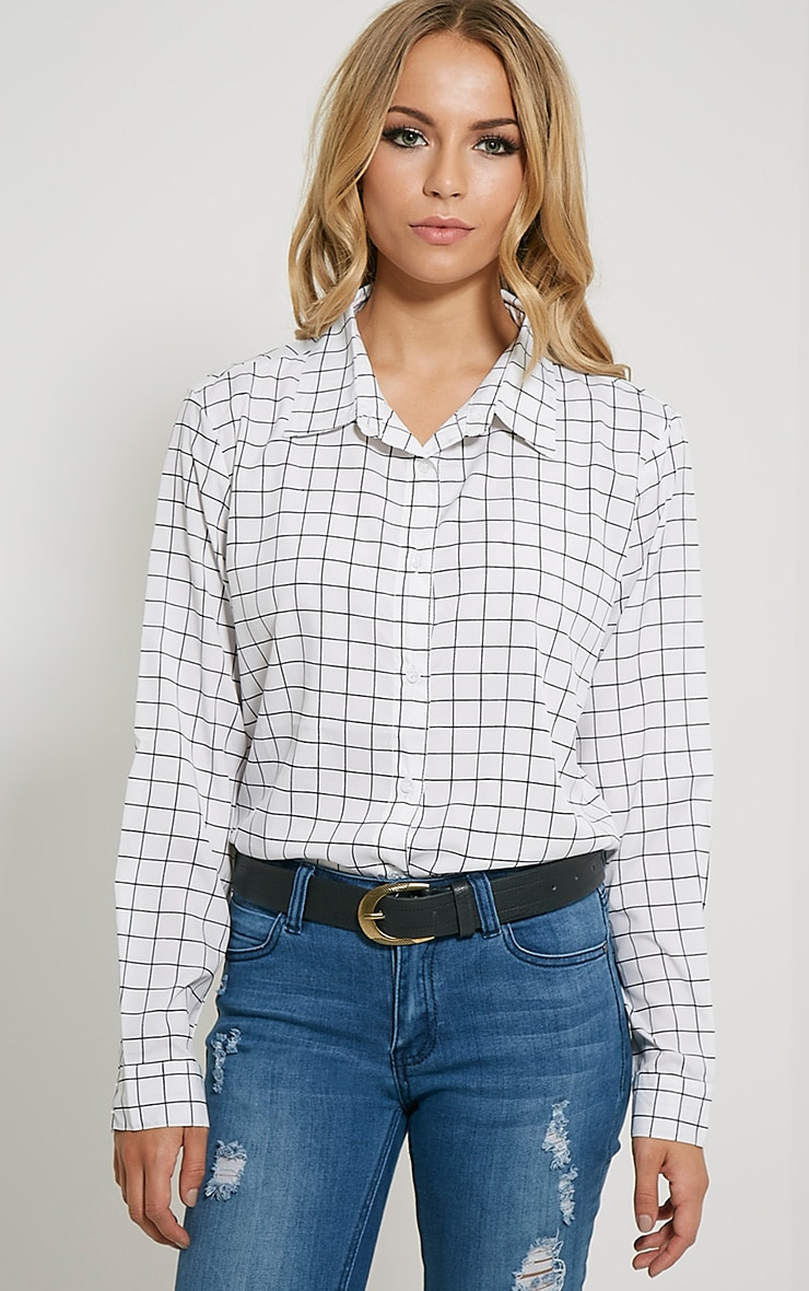 Flora White Check Shirt 1
