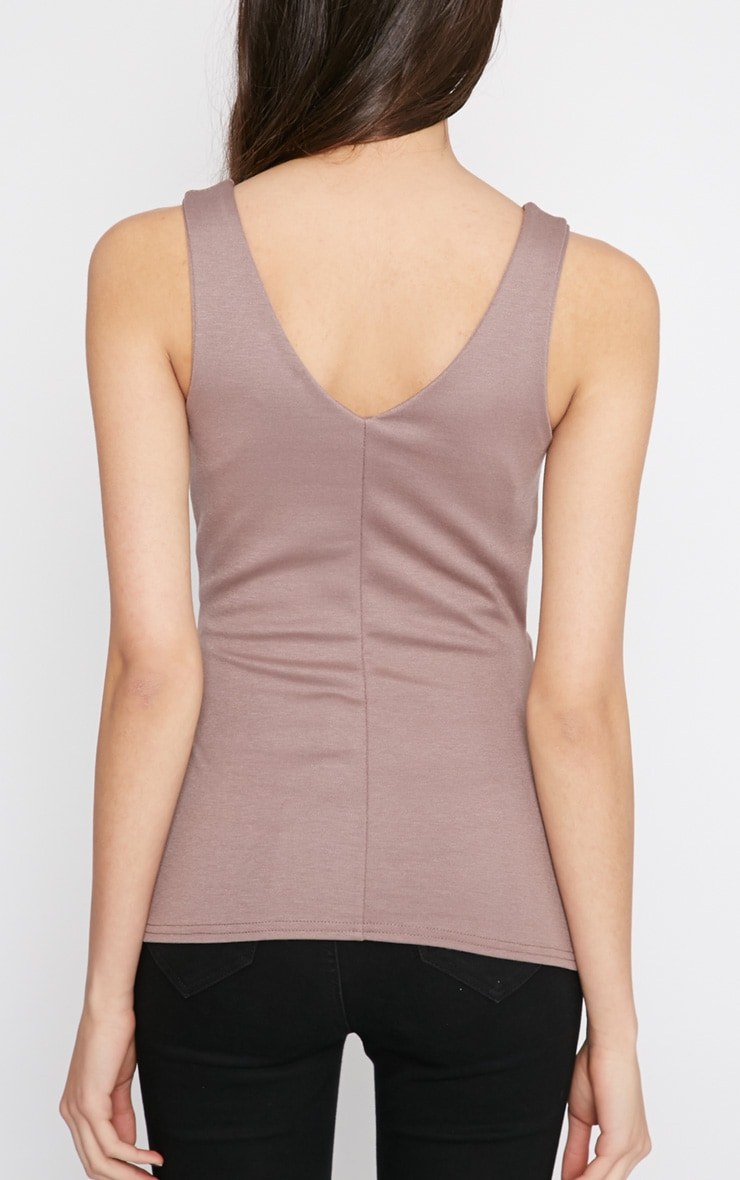 Noemi Mocha Colour Block Layered Peplum Top   4