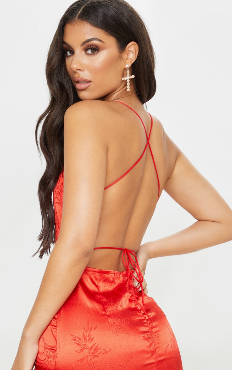 Red Satin Oriental Lace Up Back Bodycon Dress 5