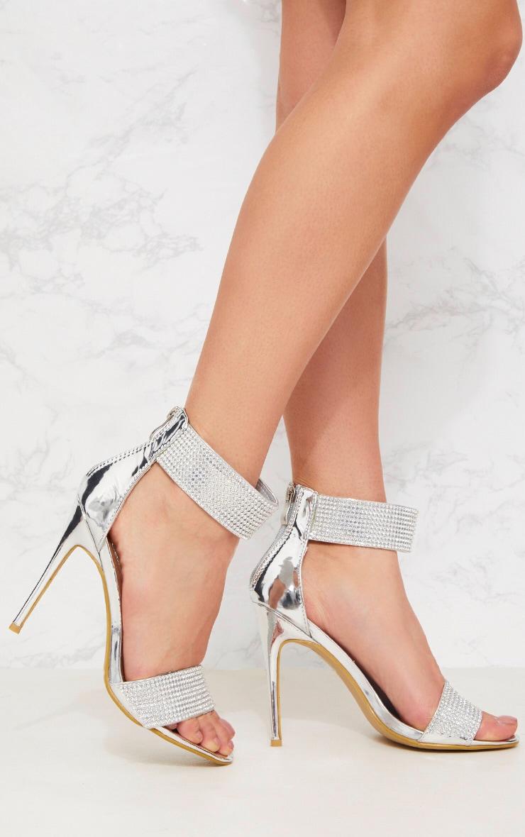Silver Diamante Cuff Sandal 1