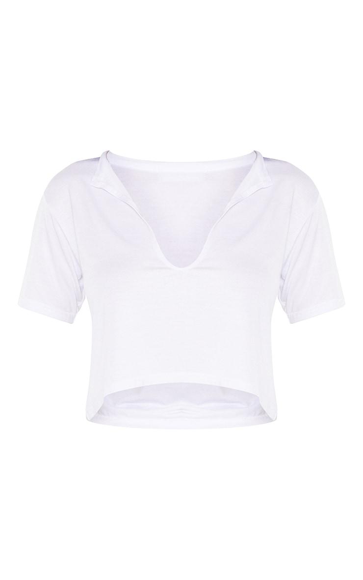 Basic White V Neck Crop T Shirt 3
