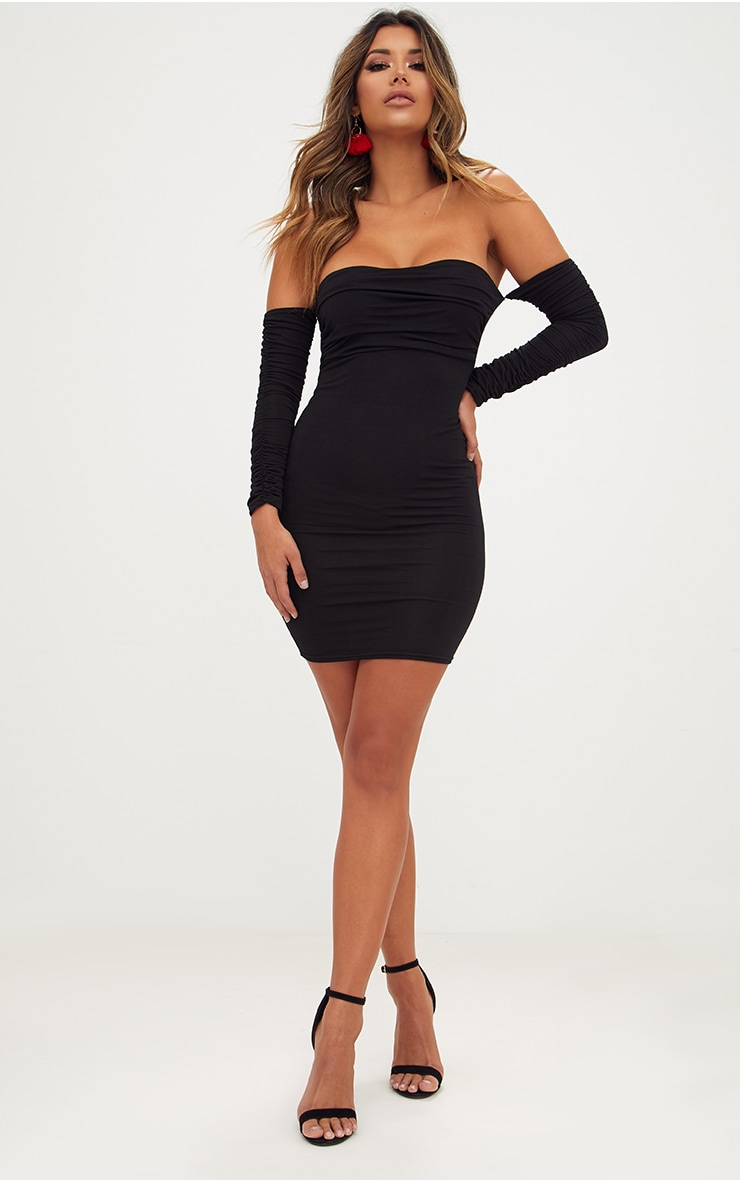 Black Ruched Front Ruched Arm Bardot Bodycon Dress 4
