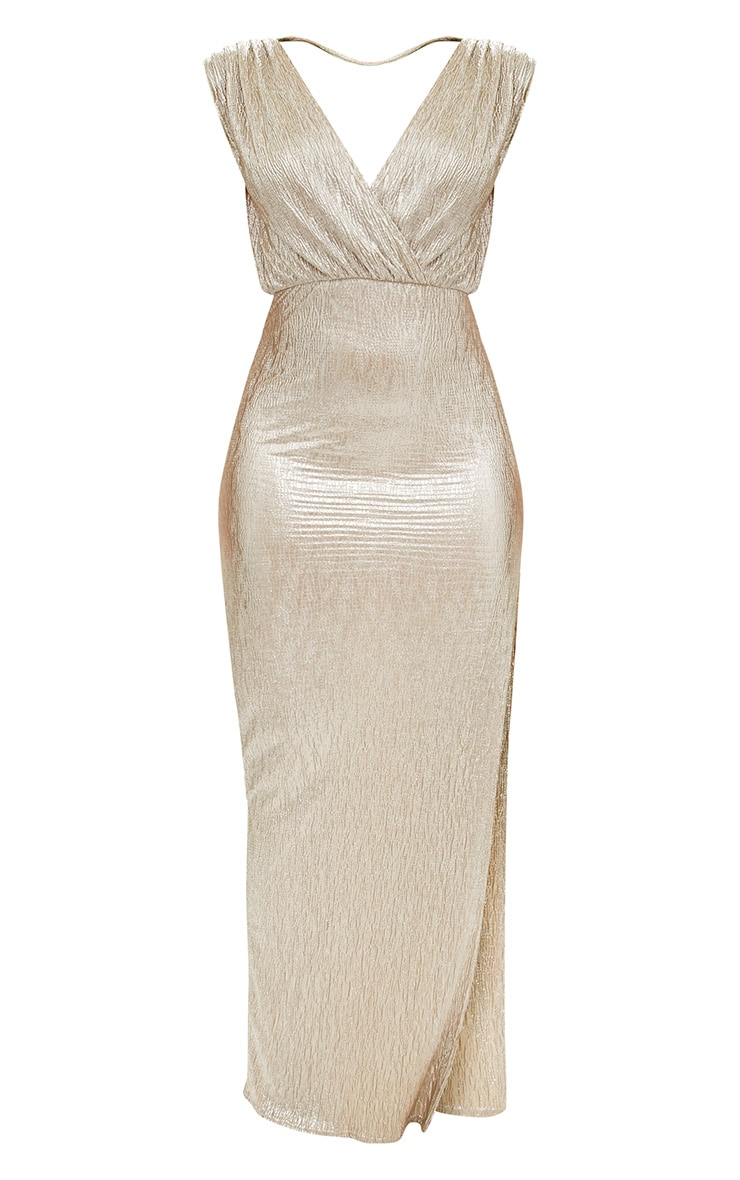 Gold Pleated Foil Extreme Plunge Maxi Dress 3