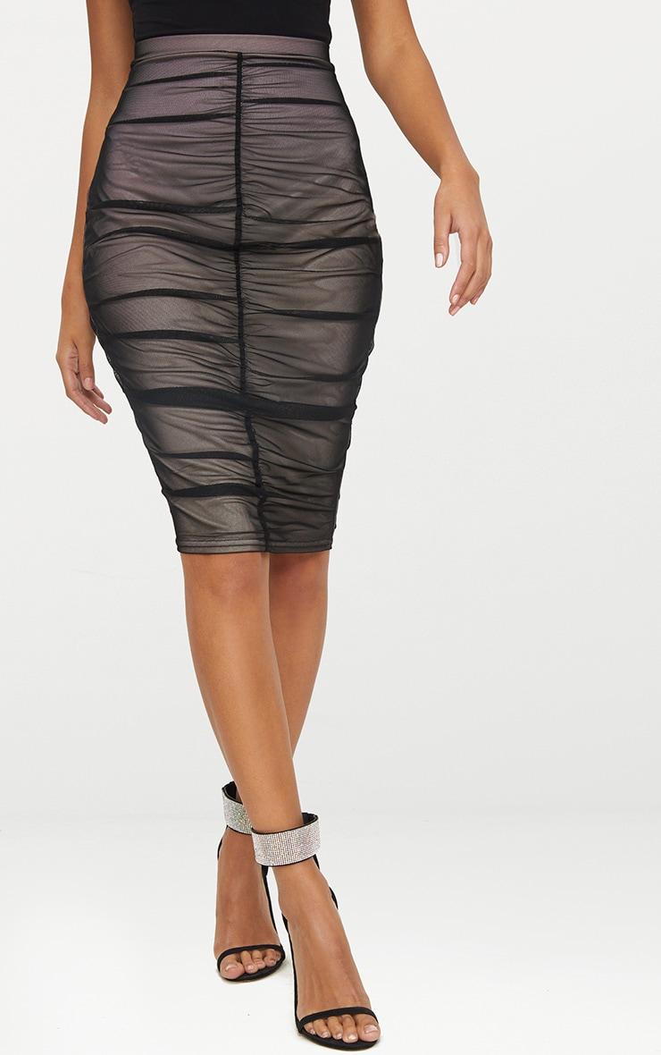 Black Ruched Mesh Midi Skirt 2